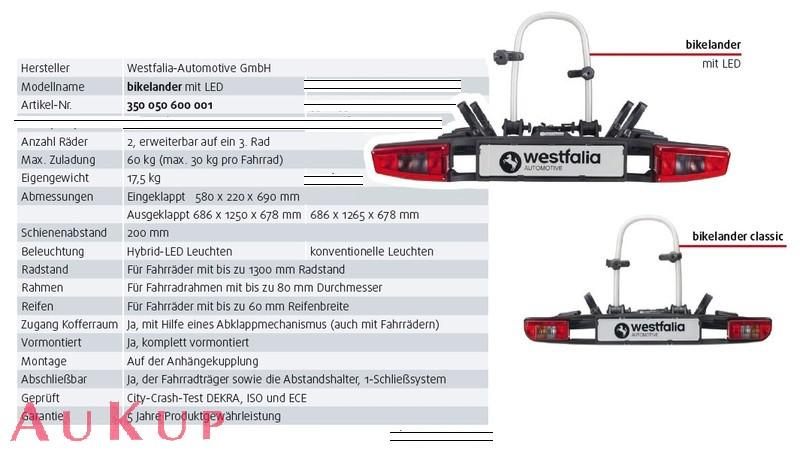 fahrradtr ger auf anh ngerkupplung westfalia aukup. Black Bedroom Furniture Sets. Home Design Ideas